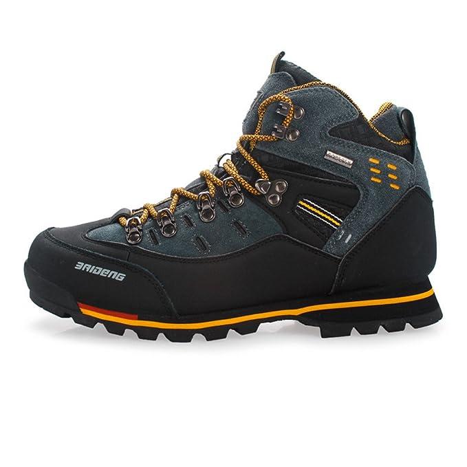 SANANG resistente hombres zapatos de senderismo piel impermeable de piel botas de escalada gris 44