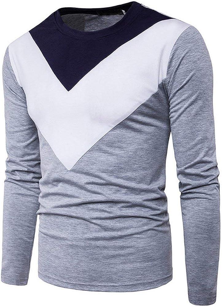 Hombre Camiseta De Manga Color Larga Chic Block Friends Camisa Deportiva Casual Cuello Redondo Slim Fit Camisas Básicas Top Blusa Otoño (Color : Grau, Size : M): Amazon.es: Ropa y accesorios