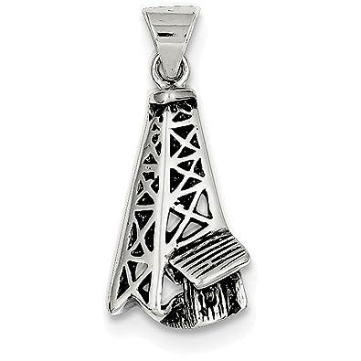 925 Sterling Silver Antiqued Oil Derrick Shaped Pendant