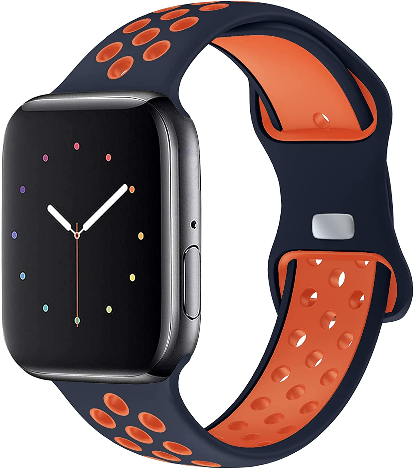 NOY Compatible with Apple Watch Bands 44mm 42mm, Soft Silicone Sport Wristbands Replacement Strap with Classic Clasp for iWatch Series SE/ 6/ 5/ 4 /3/ 2 /1Women Men, Sport Edition