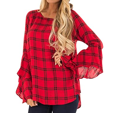 0cee4fbdac0 Forthery Womens Tunic Tops Ruffle Sleeve Plaid Loose Casual Blouse Shirts(Red  ,Small)