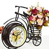 FriendShip Shop Desk Clock - Handmade Vintage Bicycle Clock Bike Mute Two Sided Table Clock (Color : Black)