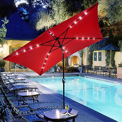 Yeshom 10x6.5ft Rectangle Patio Solar Powered LED Umbrella Tilt and Crank Outdoor Sunshade for Garden, Backyard, Red (Umbrellas Patio Rectangle)
