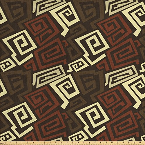 Ambesonne Grunge Fabric by the Yard, Ancient Indigenous Design with Grunge Effect Twisted Lines Geometric Folk, Decorative Fabric for Upholstery and Home Accents, Brown Cinnamon Ivory from Ambesonne