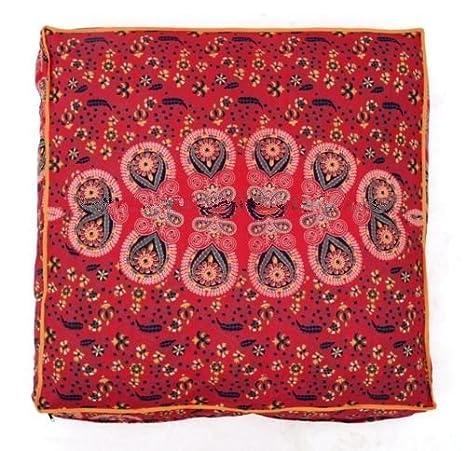 Indisches Feder-Mandala-Boden-Kissen Osmane Pouf Quadrat-Abdeckungs Hunde-// Haustier-Bett von Bhagyoday Fashions