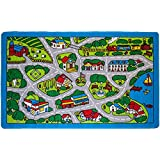 """Kids Rugs Street Map in Grey 5' X 7' Childrens Area Rug - Non Skid Gel Backing (59"""" x 82"""")"""
