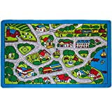 "Mybecca Kids Rug Street Map in Grey 3' X 5' Children Area Rug for Playroom & Nursery - Non Skid Gel Backing (39"" x 56"")"
