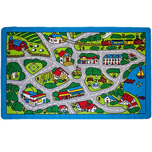 Kids Rug Street Map Gray Area Rug 8' x 11' Non Slip Gel Backing - size approximate ( 7'10
