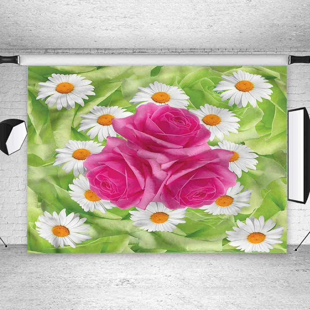 6x6FT Vinyl Photo Backdrops,Rose,Daisy Bouquet with Warm Colors Photo Background for Photo Booth Studio Props