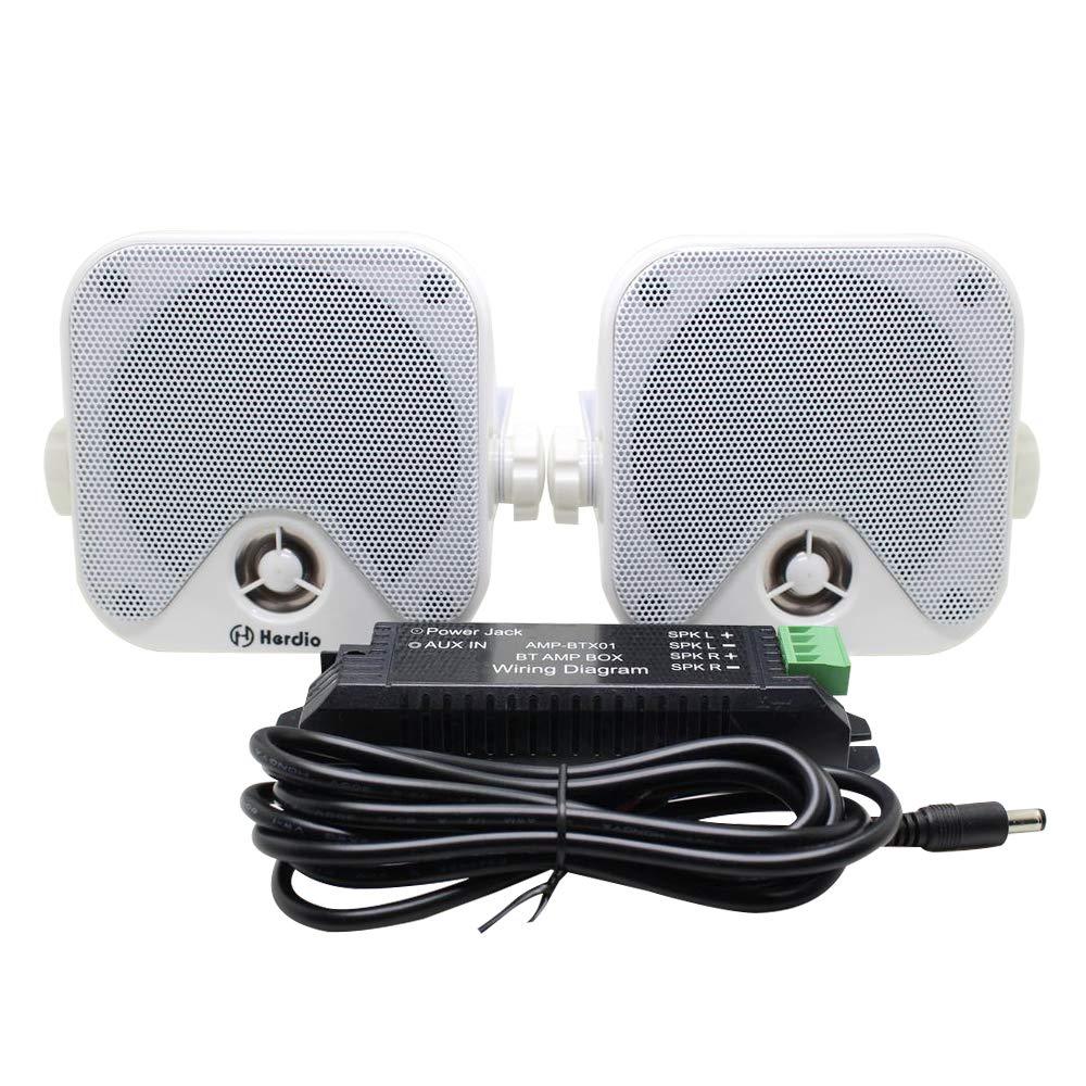 Herdio 4 inch Marine Box Bluetooth Speakers -Compact Waterproof Audio Stereo Sound System with 100 Watt Power for Boat Golf cart Jeep ATV UTV Truck Heavy Duty Powersports Vehicles Courtyard (White) by Herdio