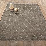 "Ottomanson Jardin Collection Contemporary Trellis Design Indoor/Outdoor Jute Backing Area Synthetic Sisal Rug, Grey, 5'3"" x 7'3"""