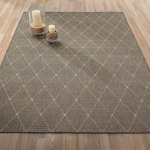 Ottomanson Jardin Collection Contemporary Trellis Design Indoor/Outdoor Jute Backing Area Synthetic Sisal Rug, Grey, 5'3