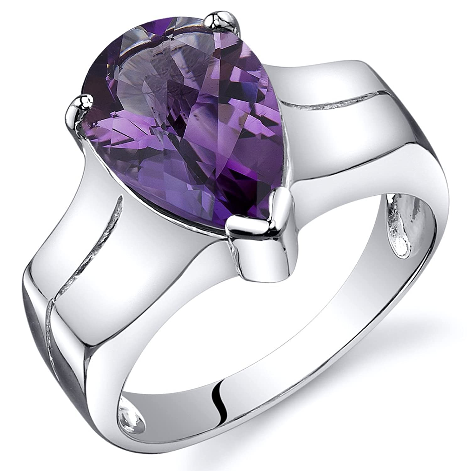 Amethyst Solitaire Ring Sterling Silver Rhodium Nickel Finish Pear Shape 2.50 Carats Sizes 5 to 9