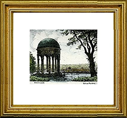 Amazon.com: Hand-colored hand-crafted etching Wiesbaden, Blick vom ...