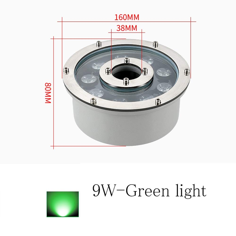 7 Kinds of LED Color Underwater Lights Low Voltage 12V 6W//9W//12W//18W LED Landscape Spotlight Waterproof IP68 for Fountain Pond Garden Pool Under-Water Light Color : Colorful, Size : 6w