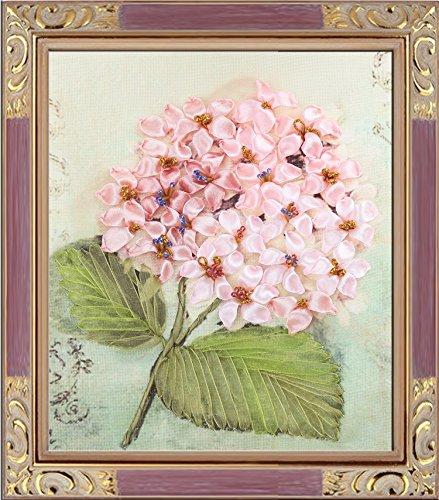 Fanryn 3D Silk ribbon embroidery flower pattern Cross Stitch Kit Embroidery DIY Handwork Home Decoration 24x20cm (No frame)