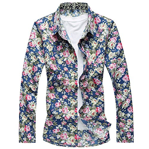 Sonder Men Full Sleeves Printed Casual Shirts Korean Luxury Long Sleeve Flower Shirt Men Party Shirts 4XL 5XL 6XL (Party Store Ann Arbor)