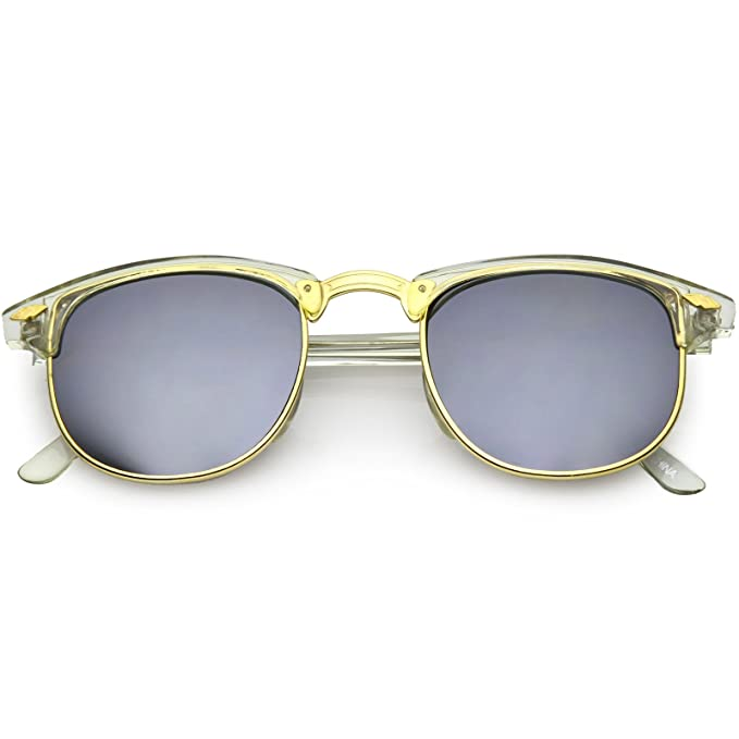 29d1dd86aa sunglassLA - True Vintage Horn Rimmed Semi-Rimless Sunglasses Square  Mirrored Lens 48mm (Clear
