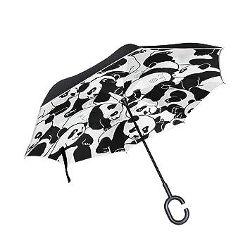 ALINLO Paraguas invertido patrón de Panda, Doble Capa, Paraguas invertido, Resistente al Agua