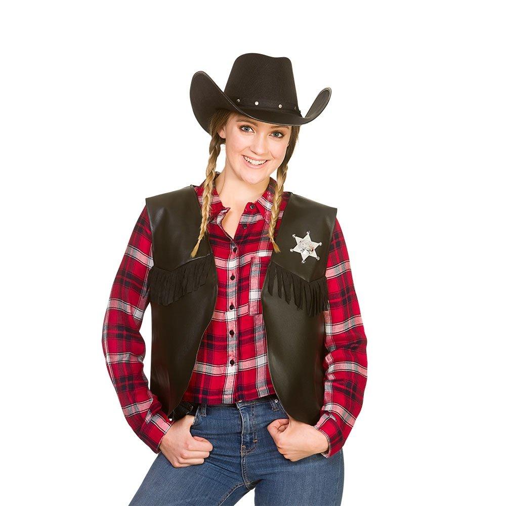 Wicked Costumes Adult Unisex Cowboy / Sherriff Waiscoat - BLACK (One Size)