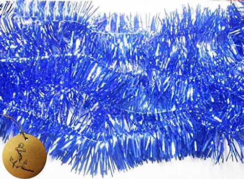 - Rimobul Elegant Sparkly Hanging Tinsel Garland- 3 PCS, 3 Inch x 6 Feet (Blue)