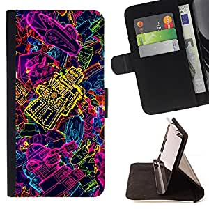 DEVIL CASE - FOR Samsung Galaxy Core Prime - Robot Neon Cool Modern Yellow Purple - Style PU Leather Case Wallet Flip Stand Flap Closure Cover