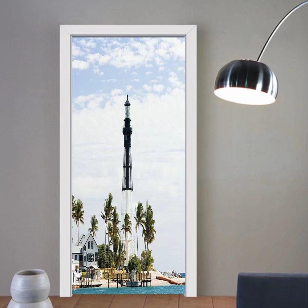 Gzhihine custom made 3d door stickers United States Hillsboro Lighthouse Pompano Beach Florida Atlantic Ocean Palms Coast Blue White Green For Room Decor 30x79