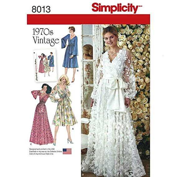 1960s – 70s Sewing Patterns- Dresses, Tops, Pants Simplicity 8013 // D0869 Wedding or Evening Dress Vintage circa 1970s Sewing Pattern (H5 (6-14)) $6.49 AT vintagedancer.com