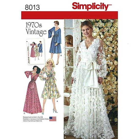 1960s – 70s Sewing Patterns- Dresses, Tops, Pants, Mens Simplicity 8013 // D0869 Wedding or Evening Dress Vintage circa 1970s Sewing Pattern (H5 (6-14)) $6.49 AT vintagedancer.com