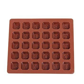 Hwintu Molde de silicona con 26 letras para tartas, diseño de chocolate 3D, jabón, molde de cocina: Amazon.es: Hogar