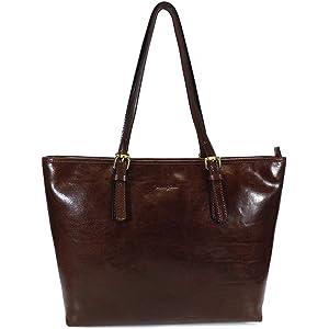 8536922e66e Gianni Conti Italian Leather Medium Top Zip Saddle Shoulder Bag ...