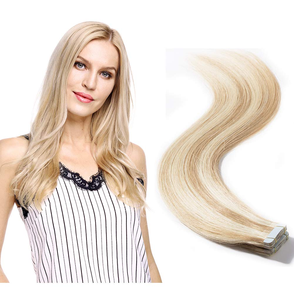 Tape in Hair Extensions Human Hair Highlight 12''-24'' Double Side Tape Seamless Skin Weft Rooted Natural Hair Extensions 20pcs Long Straight(16 inch 50g,#18/613 Light Ash Brown mix Bleach Blonde)