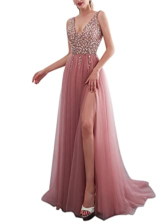 HONGFUYU Sexy High Slit Prom Dresses 2019 Deep V Neck Wideth Strap Sparkly Beads Evening Dress