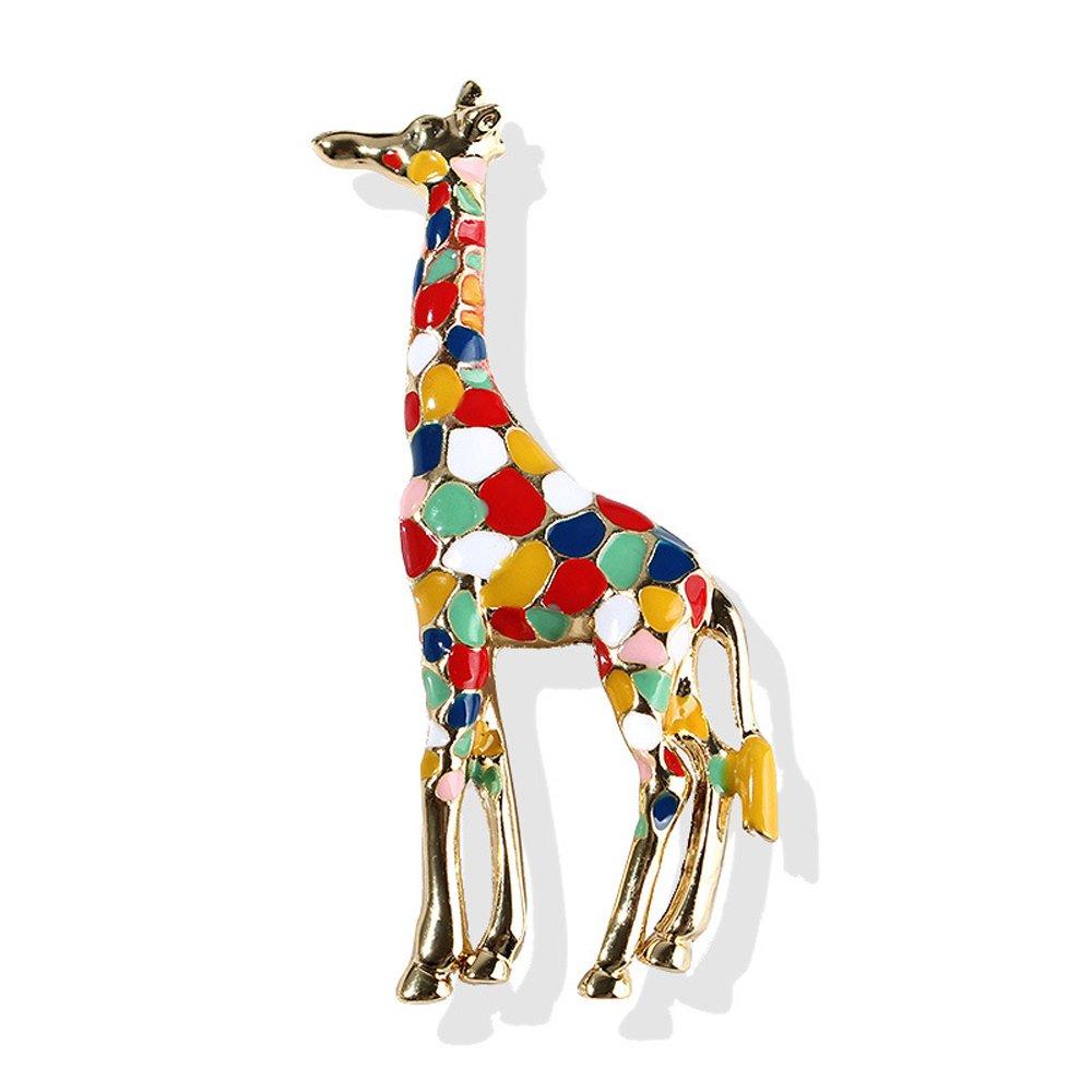 Enamel Giraffe Brooch for Women Girls Cute Animal Brooch Pin Jewelry (Colorful)