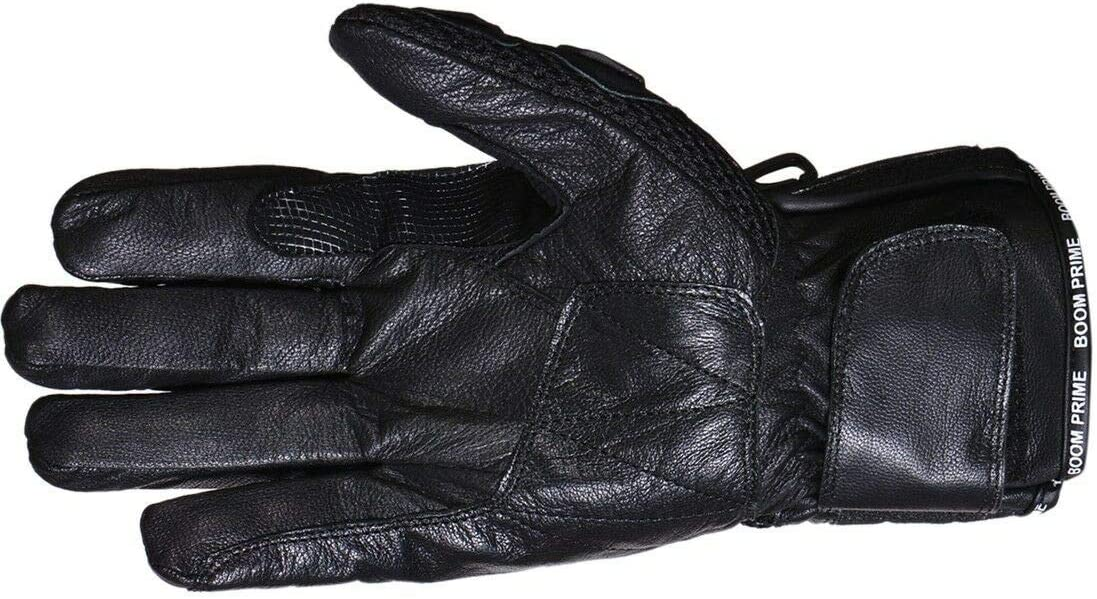 BOOM Prime Premium Leather Motorbike Motorcycle Gloves Waterproof Windproof Thermal Winter Summer Warm Full Finger Hard Knuckle Racing Motocross Bike Driving All Weather Gloves Small