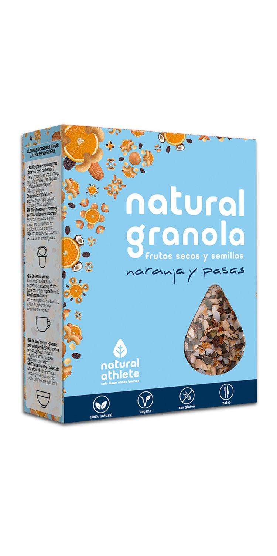 Granola -Natural Athlete- Desayuno con frutos secos y semillas - 100% natural, sin azúcar refinado. Pack 4x325gr (Naranja - Cacao - Goji - Arándano): ...