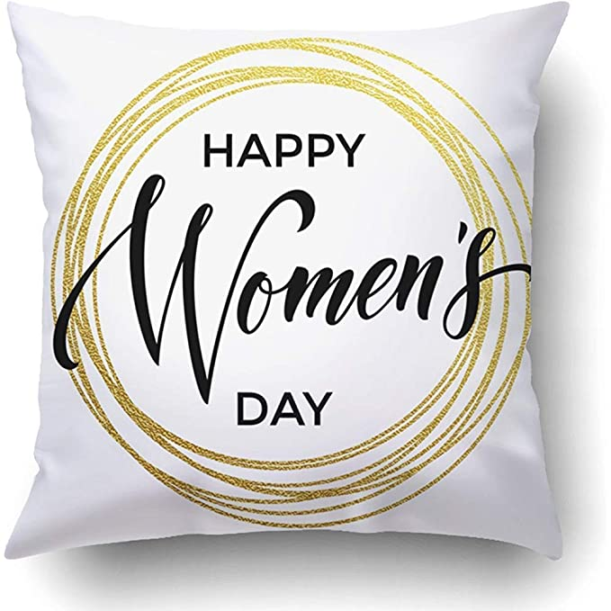 AHENANY Throw Pillow Covers Women Day Gold Glitter and Text ...