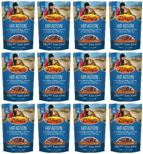 Zukes Hip Action Glucosamine & Chondroitin Peanut Butter 12lb (12x1lb) by Zuke's
