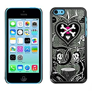 Be Good Phone Accessory // Dura Cáscara cubierta Protectora Caso Carcasa Funda de Protección para Apple Iphone 5C // Scull Crossbones White Black Metal