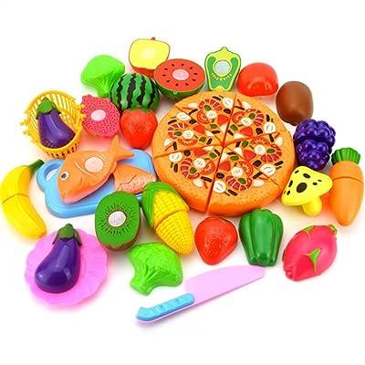 Aikesi Set de 24 Niños Cocina Comida Cena de corte Tratar Diversión Juguete Set Plástico Juego de imaginación Comida Juguetes Niño Fruta Vegetal Corte de cocina Juguete Niños Niños Juguetes educativos: Juguetes y juegos