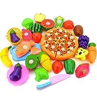 Nikgic - Corte Juguete Plástico Niños Pastel de cumpleaños de Juguete Frutas y Verduras Pizza Juguetes Eeducativos Set - para Niños Desarrollo Educación Alimentos Juguete de Cocina Set