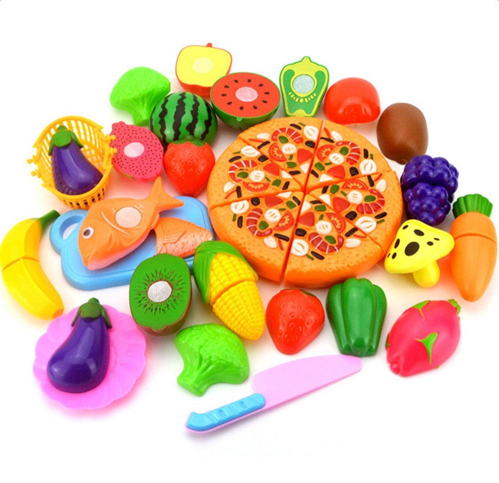 BIGBOBA Set of 24 Child Kitchen Food Slices Cutting Treat Fun Toy Set Plastic Pretend Play Food Toys Child Fruit Vegetable Kitchen Cutting Toy Children Kids Educational Toys (A)