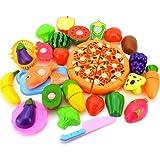 Leisial Gemüse 24 Stücke/Set kinder Schneiden Gemüse Frucht Spielzeug Kunststoff Küche Essen Kinder Küche Spielzeug