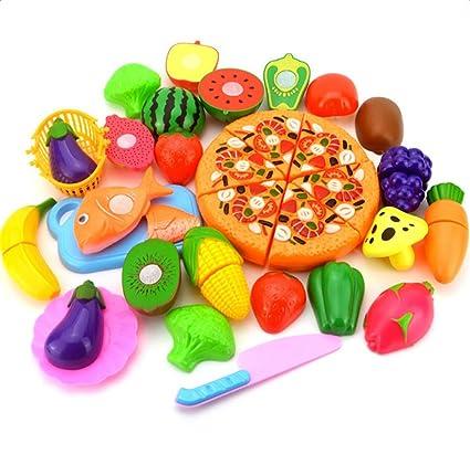 Hosaire 24 Piezas Corte de Juguetes de Frutas Hortalizas y Pizza Juego de Plástico Para Niños