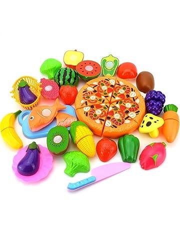 Leisial 24pcs de Juguetes Cortar Frutas Verduras Pizza Juego de Plástico para Niños Juguetes Eeducativos Set