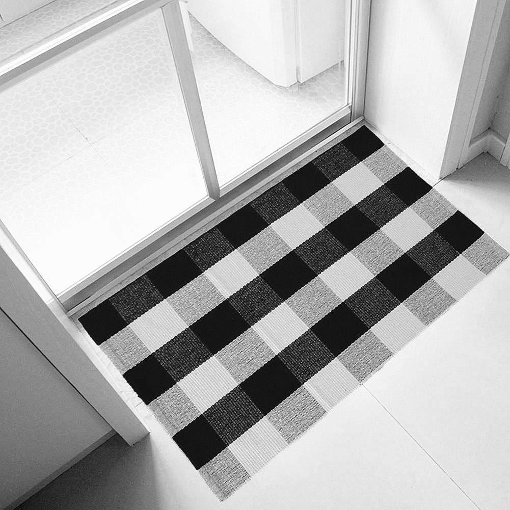 Ukeler 100% Cotton Plaid Rugs Black/White Hand-Woven Checkered Door Mat Washable Rag Throw Rugs, 23.5