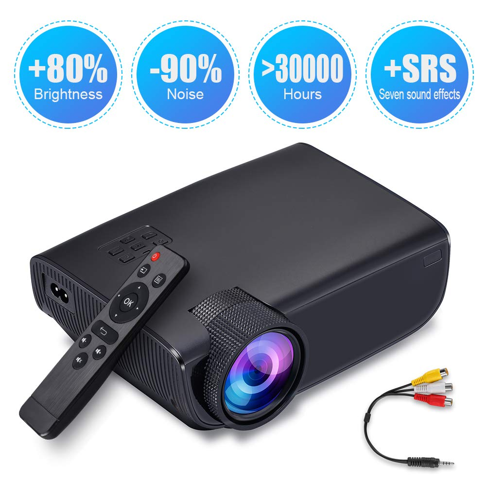 ImagePro Mini Portable LED Projector,High Brightness,HD 1080P 176 inch Large Display,Ultra Thin,Indoor/Outdoor,for Home Theater,Video Games,HDMI,USB,SD Card,AV,Xbox,VGA