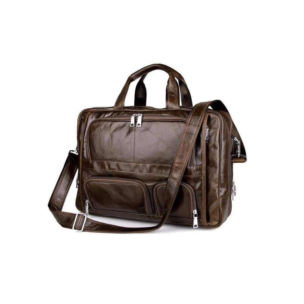 Xinyuan European and American Style Mens Leather Handbag Business Bag Mens Large Capacity Shoulder Messenger Bag 17 Inch Computer Bag Work Learning Commercial Brown