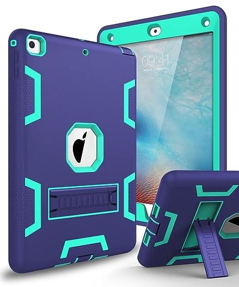 c1691a70b919 XIQI New iPad 9.7 2018 Case,iPad 6th Generation Case Three Layer Kickstand  Armor Defender Heavy Duty Shock-Absorption Rugged Hybrid Protective Case ...