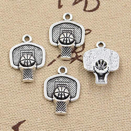 Charms - 15pcs Charms Basketball Hoop 2015mm Antique Silver Plated Pendants Making DIY Handmade Tibetan Silver Jewelry - by ptk12-1 PCs